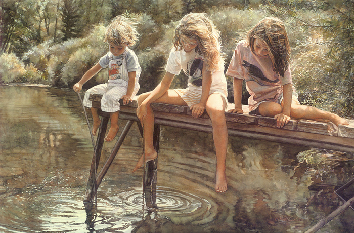 water color by steve hanks three girls on river