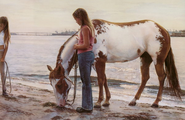 watercolor by Steve Hanks girl and horse