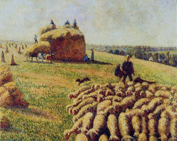 Camille Pissarro flock of sheep-in the field after the harvest
